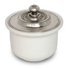 Convivio Sugar Bowl - White - 10 cm Diameter - Handcrafted in Italy - Pewter & Ceramic