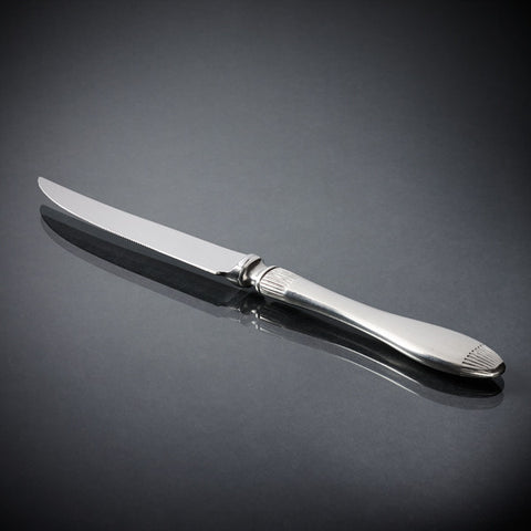 Daniela Steak Knife Set (Set of 6) - 23 cm Length - Handcrafted in Italy - Pewter & Stainless Steel