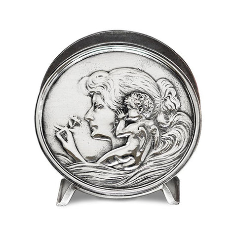 Art Nouveau-Style Donna Maiden & Cherub Napkin Holder - Handcrafted in Italy - Pewter/Britannia Metal