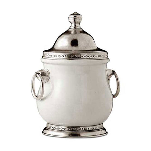 Empoli Storage Jar - 70 cl - Handcrafted in Italy - Pewter & Ceramic