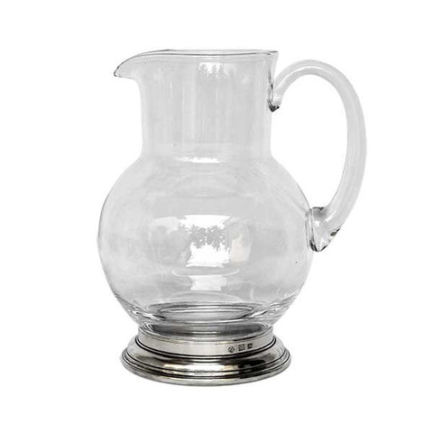 Erbusco Jug Pitcher - 0.5 L - Handcrafted in Italy - Pewter & Glass