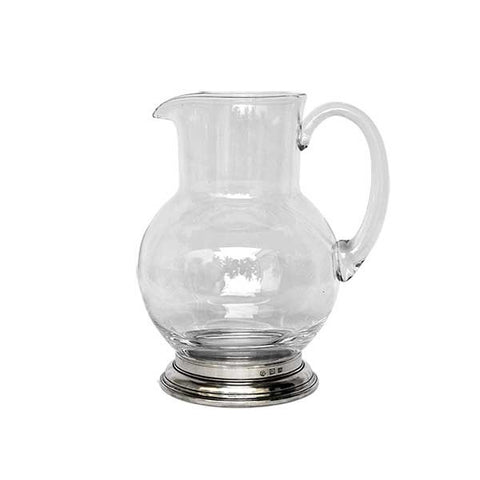 Erbusco Jug Pitcher - 0.25 L - Handcrafted in Italy - Pewter & Glass