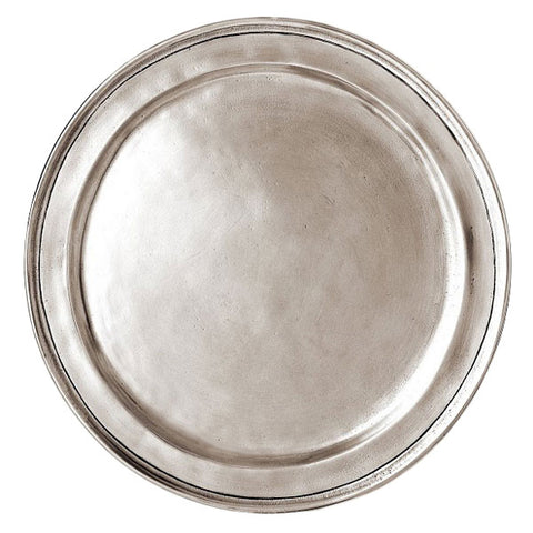 Eridio Narrow Rim Plate - 30 cm Diameter - Handcrafted in Italy - Pewter
