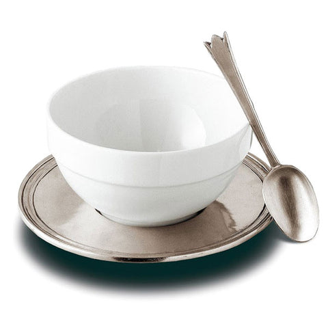 Etruria Ceramic & Pewter Breakfast Set - 65 cl - Handcrafted in Italy - Pewter & Ceramic