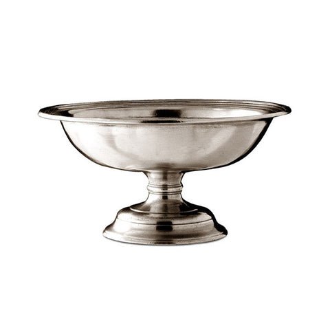 Etruria Footed Bowl - 21 cm Diameter - Handcrafted in Italy - Pewter