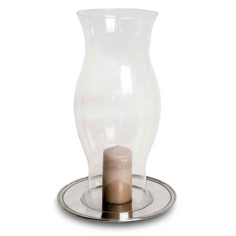 Etruria Hurricane Lamp - 50 cm Height - Handcrafted in Italy - Pewter & Glass