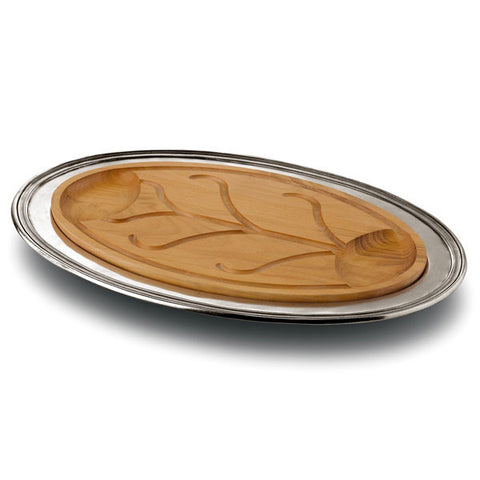 Etruria Carving Platter - 53.5 cm x 34 cm - Handcrafted in Italy - Pewter & Cherry Wood