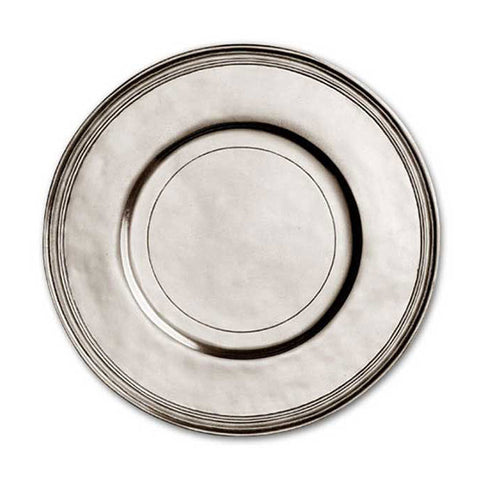 Etruria Rimmed Charger - 30 cm Diameter - Handcrafted in Italy - Pewter