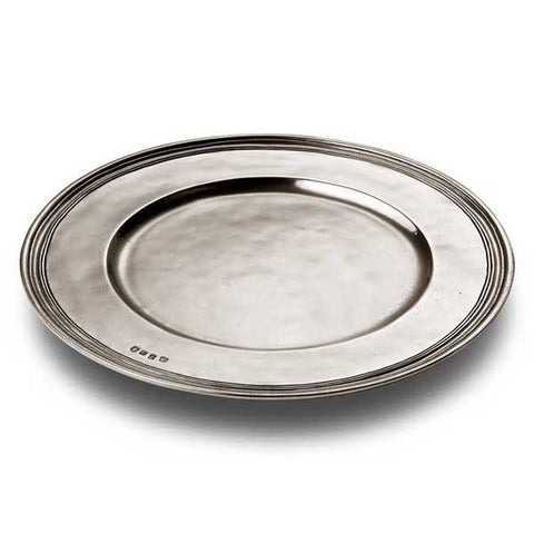 Etruria Rimmed Charger - 34 cm Diameter - Handcrafted in Italy - Pewter