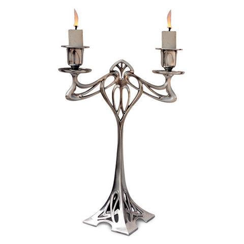 Art Nouveau-Style Eiffel 2 Flame Candelabra - 30 cm Height - Handcrafted in Italy - Pewter/Britannia Metal