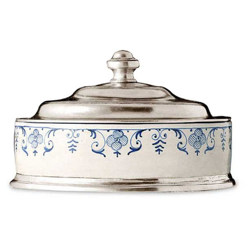 Faenza Bon Bon Box - 17 cm  - Handcrafted in Italy - Pewter & Ceramic