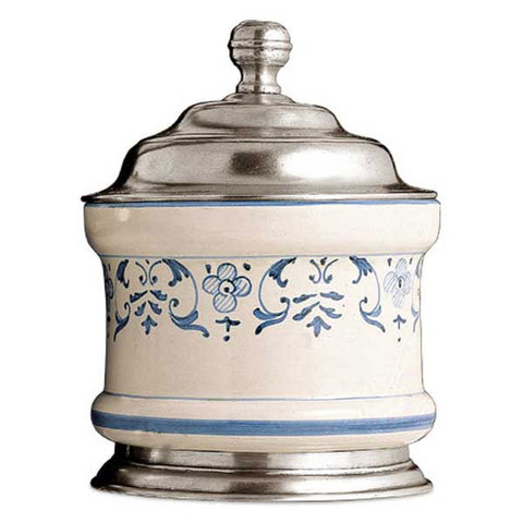 Faenza Storage Jar - 70 cl - Handcrafted in Italy - Pewter & Ceramic
