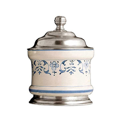 Faenza Storage Jar - 30 cl - Handcrafted in Italy - Pewter & Ceramic