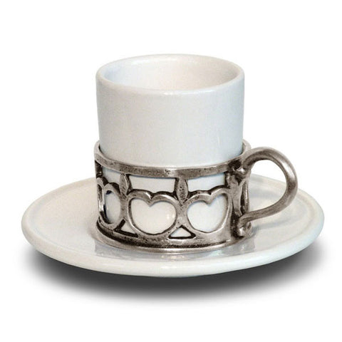 Ferrara Espresso Cup & Saucer - Handcrafted in Italy - Pewter & Ceramic