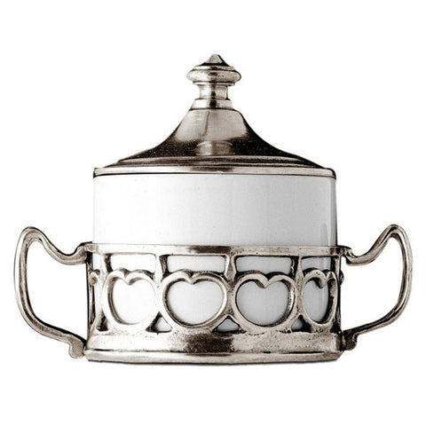 Ferrara Sugar Pot - 10 cm Height - Handcrafted in Italy - Pewter & Ceramic
