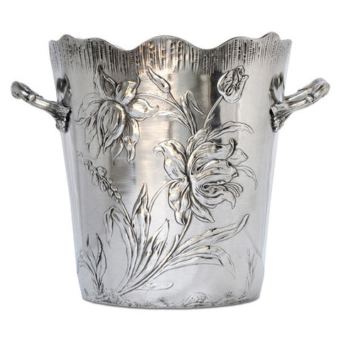 Art Nouveau-Style Fiori Champagne Bucket - 20 cm Diameter - Handcrafted in Italy - Pewter