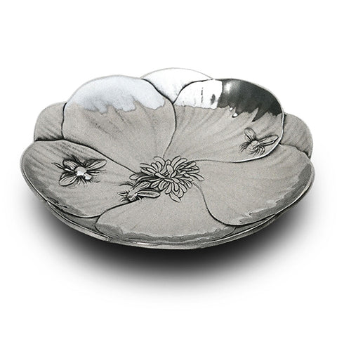 Art Nouveau-Style Fiori Honey Bee Tray - 15 cm - Handcrafted in Italy - Pewter/Britannia Metal
