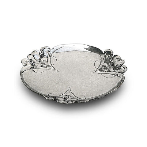 Art Nouveau-Style Fiori Viola Tray - 28 cm - Handcrafted in Italy - Pewter/Britannia Metal
