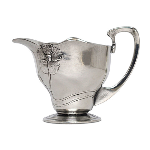 Art Nouveau-Style Fiori Primula Milk Pitcher - 8 cm - Handcrafted in Italy - Pewter/Britannia Metal