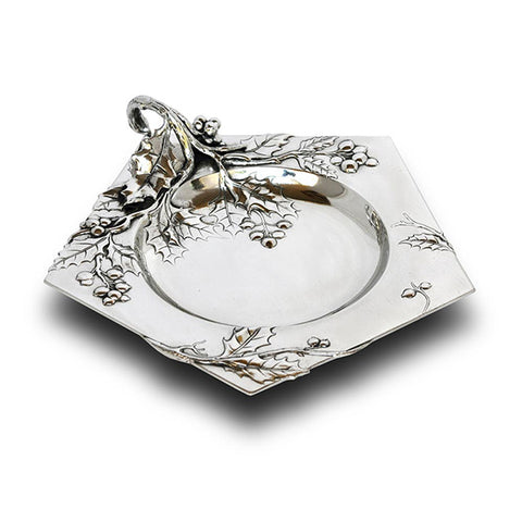 Art Nouveau-Style Fiori Pentagon Bowl (with handle) - Handcrafted in Italy - Pewter/Britannia Metal