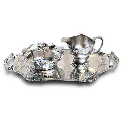 Art Nouveau-Style Fiori Primula Rectangular Tray (with handles) - Handcrafted in Italy - Pewter/Britannia Metal