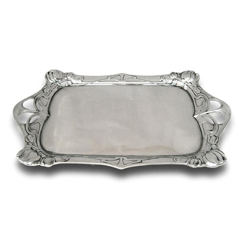 Art Nouveau-Style Fiori Rectangular Tray - 40 cm - Handcrafted in Italy - Pewter/Britannia Metal
