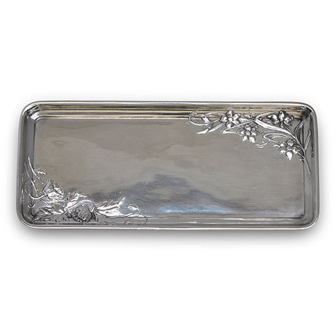 Art Nouveau-Style Fiori Rectangular Tray (with flowers) - 27 cm - Handcrafted in Italy - Pewter/Britannia Metal