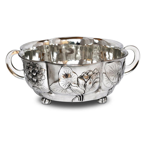 Art Nouveau-Style Fiori Round Bowl - Leaves & Flowers - 29 cm - Handcrafted in Italy - Pewter/Britannia Metal