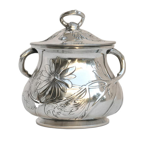 Art Nouveau-Style Fiori Daisy Sugar Pot - 11 cm - Handcrafted in Italy - Pewter/Britannia Metal