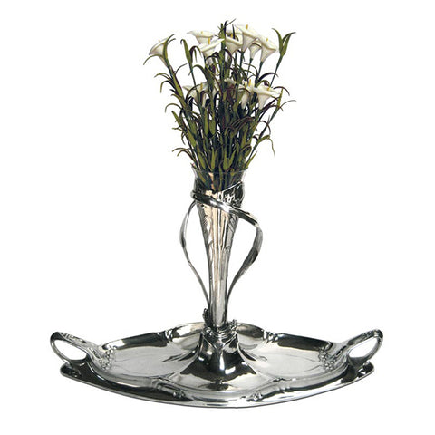 Art Nouveau-Style Fiori Flower Vase Centrepiece - Handcrafted in Italy - Pewter/Britannia Metal & Glass