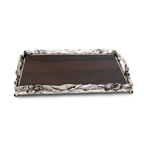 Art Nouveau-Style Fiori Rectangular Tray (with wooden inlay) - Handcrafted in Italy - Pewter/Britannia Metal & Wood
