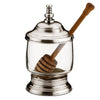 Francia Honey Pot (with twizzler) - 13 cm Height - Handcrafted in Italy - Pewter & Glass