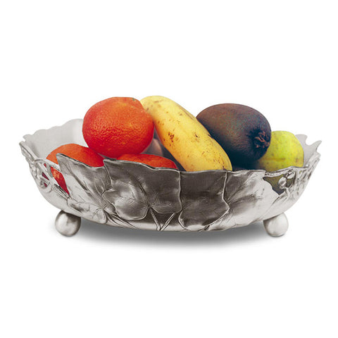 Art Nouveau-Style Frutta Round Bowl - Diameter 29 cm - Handcrafted in Italy - Pewter/Britannia Metal