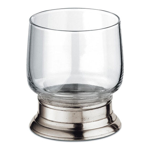 Francia Lowball Short Glass (Set of 2) - 25 cl - Handcrafted in Italy - Pewter & Glass