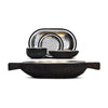 Fuga Oval Bowl (with handles) - 44 cm x 17.5 cm - Handcrafted in Italy - Pewter & Wood
