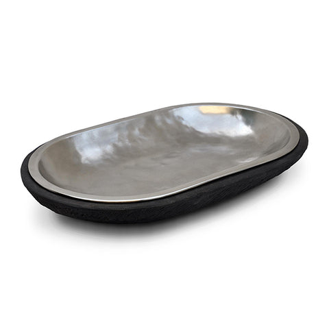 Fuga Oval Platter - 40.5 cm x 25.5 cm - Handcrafted in Italy - Pewter & Wood