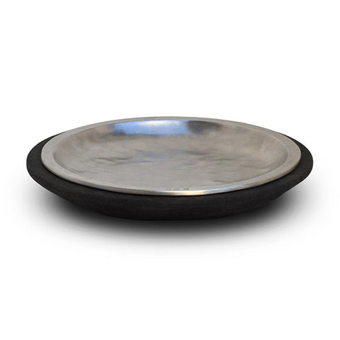 Fuga Plate - 20.5 cm Diameter - Handcrafted in Italy - Pewter & Wood