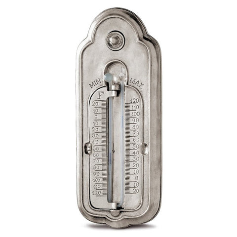 Galileo Minimum & Maximum Thermometer - 25 cm Height - Handcrafted in Italy - Pewter