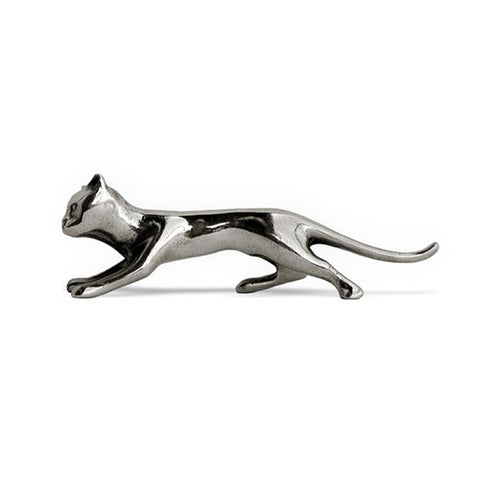 Art Nouveau-Style Gatto Cat Knife Rest - 10.5 cm Length - Handcrafted in Italy - Pewter