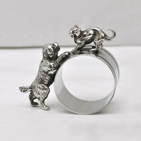 Art Nouveau-Style Gatto Dog & Cat Napkin Ring - 7 cm - Handcrafted in Italy - Pewter/Britannia Metal