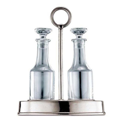 Genova Oil & Vinegar Set (Glass stoppers) - 24 cm Height - Handcrafted in Italy - Pewter & Glass