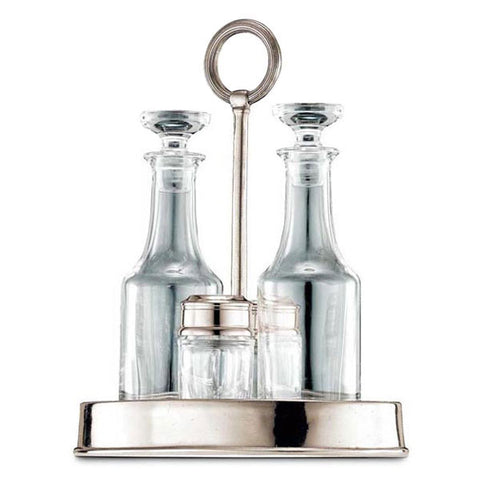 Genova Condiment Cruet Set - 24 cm Height - Handcrafted in Italy - Pewter & Glass