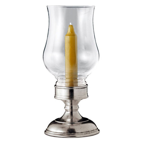 Giulio Garden Candle - 22 cm Height - Handcrafted in Italy - Pewter & Glass