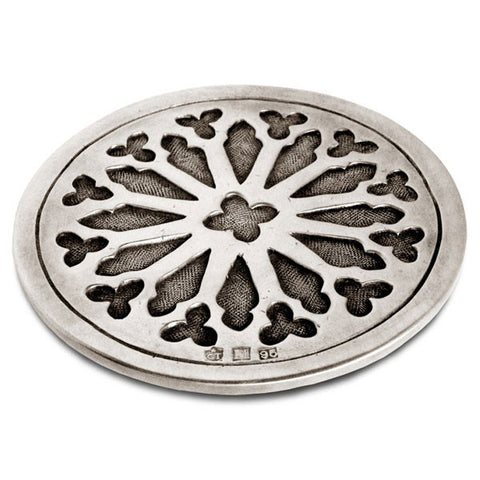 Gotico Circular Coaster (Set of 2) - 9.5 cm Diameter - Handcrafted in Italy - Pewter