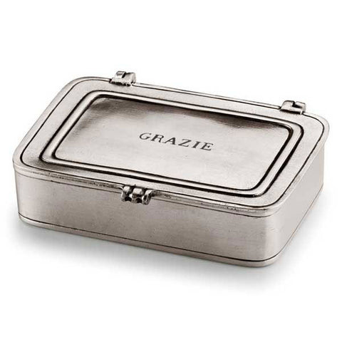 Grazie Lidded Box - 11.5 cm x 8 cm  - Handcrafted in Italy - Pewter