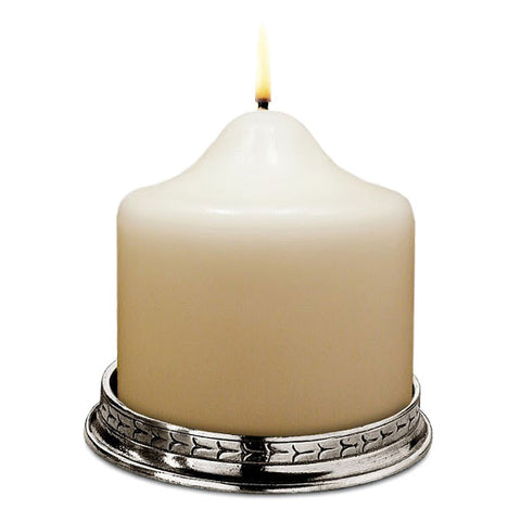 Glicerio Pillar Candle Base - 10 cm Diameter - Handcrafted in Italy - Pewter