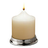 Glicerio Pillar Candle Base - 7.5 cm Diameter - Handcrafted in Italy - Pewter