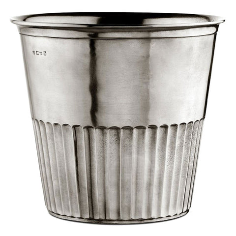 Impero Waste Basket - 23 cm Height - Handcrafted in Italy - Pewter