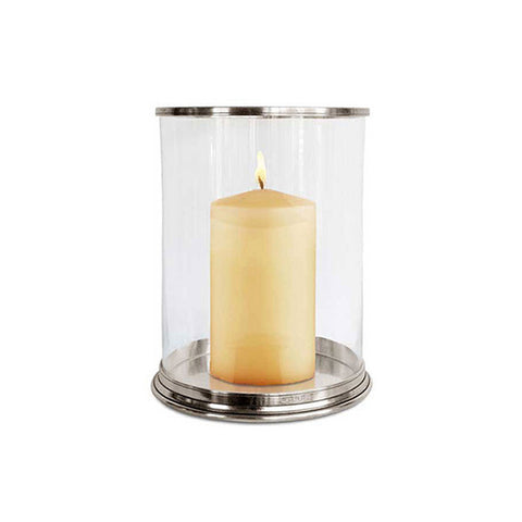 Irene Hurricane Lamp - 33 cm Height - Handcrafted in Italy - Pewter & Glass