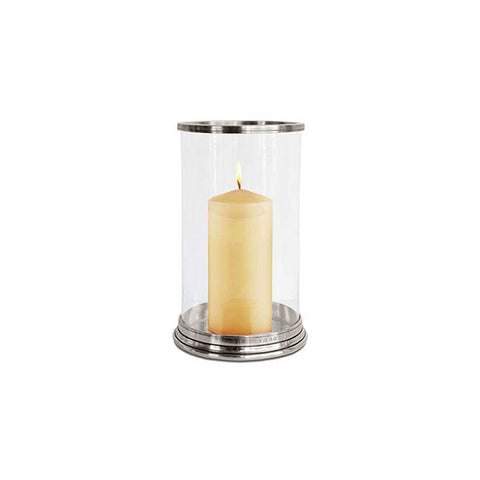 Irene Hurricane Lamp - 29 cm Height - Handcrafted in Italy - Pewter & Glass